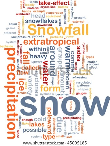 Background concept wordcloud illustration of snow precipitation snowfall