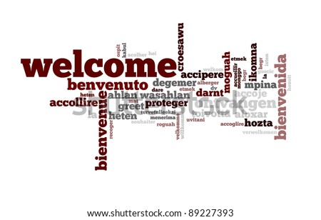 Background concept wordcloud illustration of welcome different languages