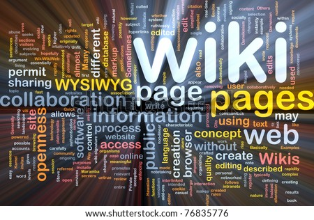 Background concept wordcloud illustration of wiki pages glowing light