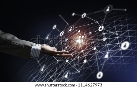 Background conceptual image with social connection lines on dark backdrop #1114627973