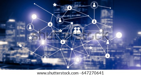Background conceptual image with social connection lines on dark backdrop #647270641