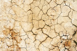 Background cracked, dry white clay, natural material, atmospheric impact, outdoors, horizontal close-up photo. Dry soil