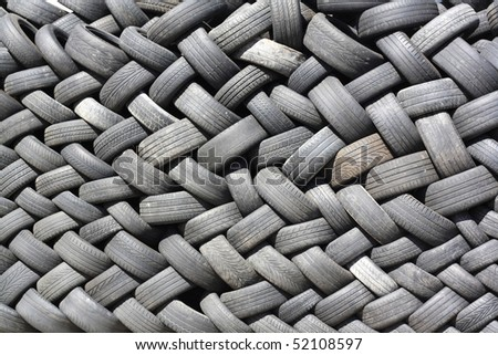background created from used tires - stock photo