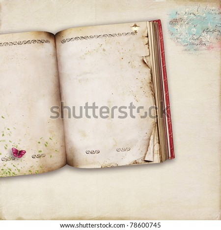 Background decorated with a book and other elements