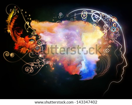Background design of a human profile and fractal elements on the subject of design, imagination and creativity