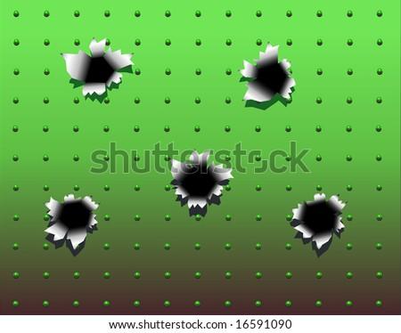 Background design of bullet holes in green metal