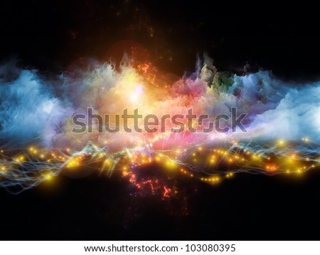 Background design of clouds of fractal foam and abstract lights on the subject of art, spirituality, painting, music , visual effects and creative technologies