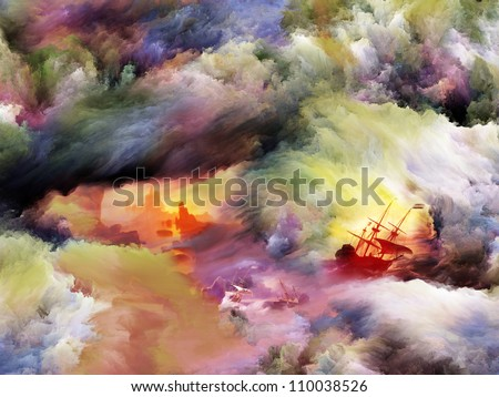 Background design of dreamy forms, landscapes, sail ships and colors on the subject of dream, imagination, fantasy and abstract art
