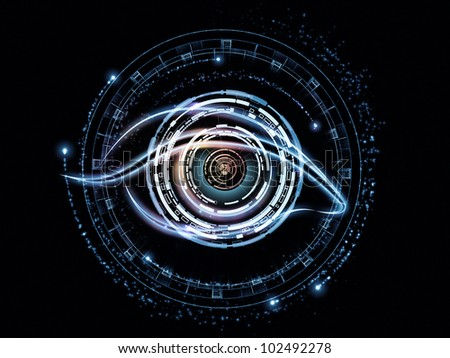 Background design of eye outlines, fractal and abstract design elements on the subject of modern technologies, mechanical progress, artificial intelligence, virtual reality and digital imaging