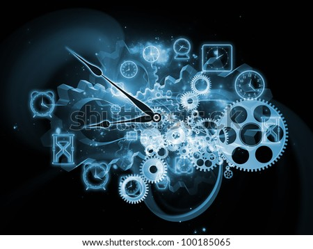 Background design of gears, clock elements and abstract design elements on the subject of scheduling, temporal and time related processes, deadlines, progress, past, present and future