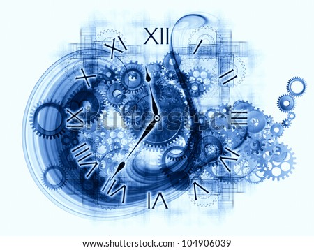 Background design of gears, clock elements, dials and dynamic swirly lines on the subject of scheduling, temporal and time related processes, deadlines, progress, past, present and future