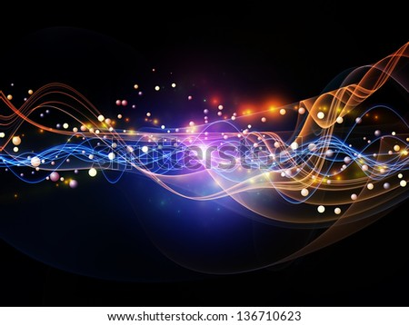 Background design of lights, fractal and custom design elements on the subject of signals, networking, communication technologies and motion