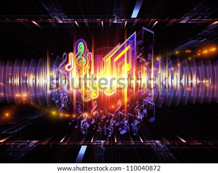 Background design of musical notes, perspective fractal grids, lights, wave and sine patterns on the subject of music, sound equipment and processing, audio performance and entertainment