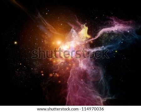 Background design of nebulous textures, lights and gradients on the subject of astronomy, imagination, fantasy and creativity