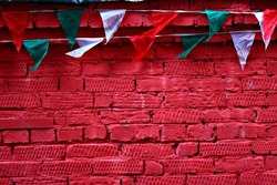 background desktop macro texture different Wallpapers city style brick red wall street triangle flag Italy Italian green white strand rope the architecture of the stone building rag