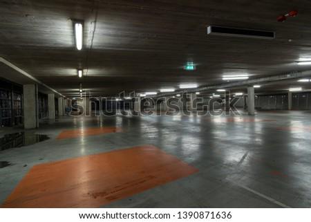 Parking garage interior, industrial building,Empty