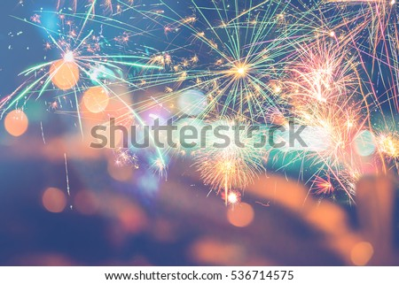 Background festive New Year with fireworks and bokeh. #536714575