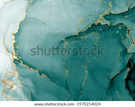 Background for Cards. Grass. Water Alcohol Ink Stains. Pigment. Tidal bore Splash. Aquamarine Watercolor paint. Dark blue, Tidewater Green Gold Drops. Blue Abstract. Stock photo ©
