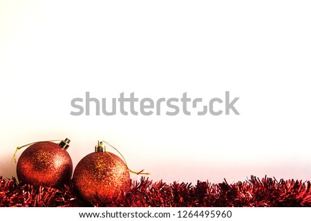 background for Christmas greetings decorated with red toys Zdjęcia stock ©