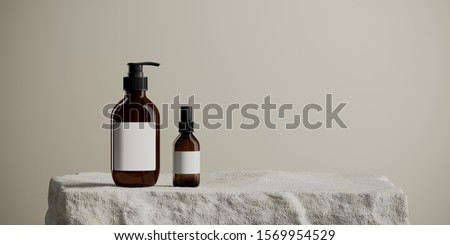 Background for cosmetic product branding, identity and packaging inspiration. Cosmetic bottle on white stone podium with tan color background. 3d rendering illustration.