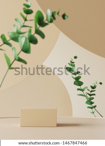 Background for cosmetic product branding, identity and packaging inspiration. Podium with eucalyptus leaves and earth tone circular geometry background. 3d rendering illustration.