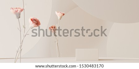 Background for cosmetic product branding, identity and packaging inspiration. Podium with pink carnations and earth tone circular geometry background. 3d rendering illustration.