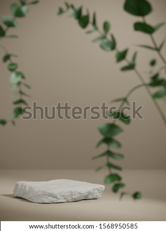 Background for cosmetic product branding, identity and packaging inspiration. White stone podium with foreground plant on tan color background. 3d rendering illustration.