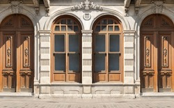 Background for design, texture walls and windows of houses, building facades. On the streets in Istanbul, public places.