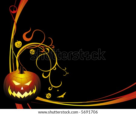 background for halloween with a pumpkin and bats