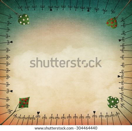 Background for illustration or postcard with iron frame and trees