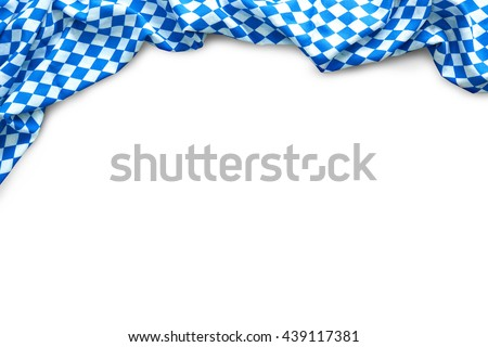 Background for Oktoberfest with bavarian white and blue fabric isolated on white Photo stock ©