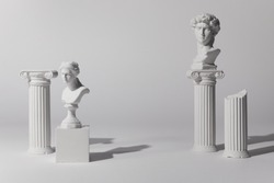 Background for product presentation. Antique columns ans statues on white background