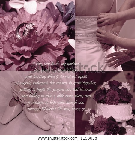 stock photo Background for scrapbooks with wedding vows and four wedding