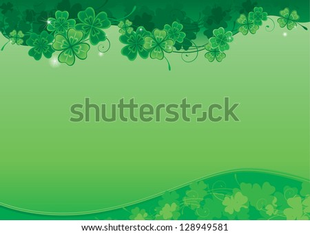 Background  for St. Patrick's Day. Ornate  background with  clover leaves and place for text