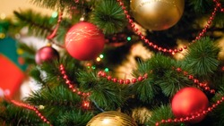 Background for winter celebrations with decorated Christmas tree