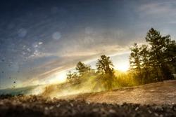 Background forest track dirt bike