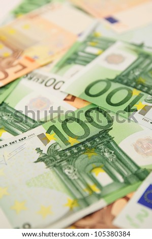 Background from a lot of euro banknotes, shallow depth of field