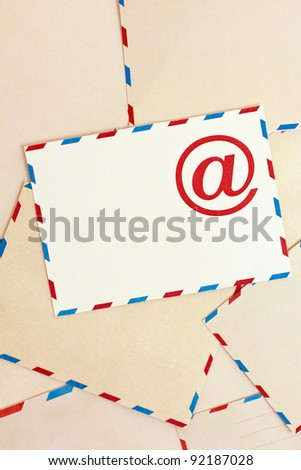 Background from airmail paper and e-mail