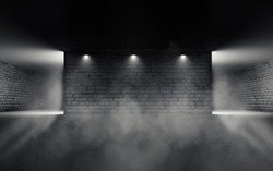 Background from an empty room with brick walls and concrete floor. Spotlight, fog, smoke.