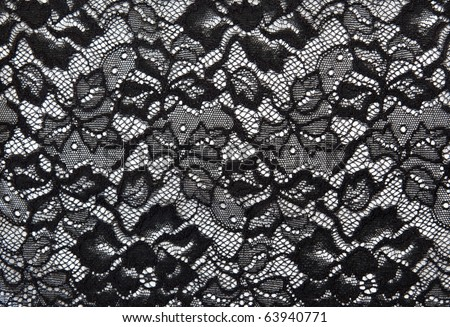 Background from black lace with pattern with form flower on white