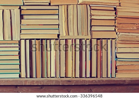 Background from books. Books close up. Books on the shelf.