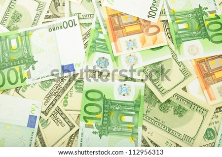 Background from dollar and euro different banknotes