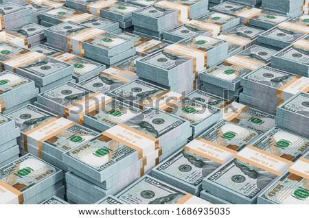 Background from dollar packs, 3D rendering Stockfoto ©