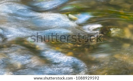 Background from flowing water surface. Artistic close-up of running swift creek. Abstract playful texture with beautiful motion blur. Dynamic detail of the clear stream.