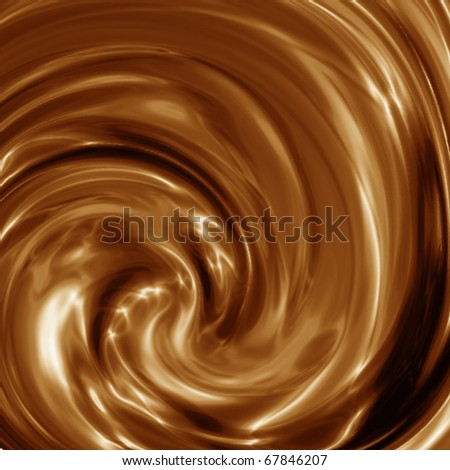 Background from hot flowing chocolate, circles on chocolate - stock photo