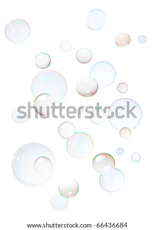 Background from natural soap bubbles, isolated on white.