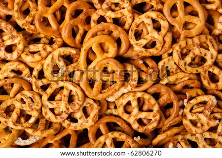 Background from salted fresh pretzels