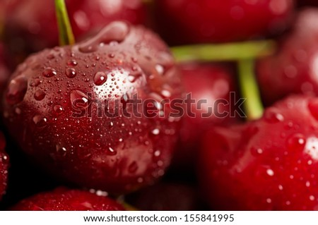 Background from sweet fresh wet  red cherry, macro image #155841995