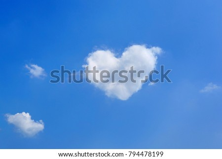 background from the blue sky with a white cloud in the form of heart.