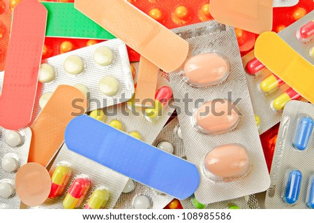 Background from various kinds of medicine pills